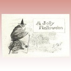 Unused Antique Halloween Postcard - Witch & Scary Things  (1 of 3)