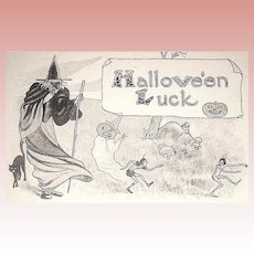 Unused Antique Halloween Postcard - Witch & Scary Goblins (2 of 3)