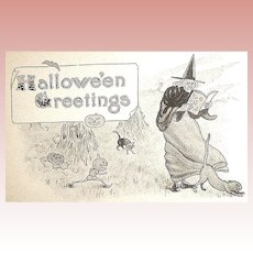 Unused Antique Halloween Postcard - Witch & Scary Figures (3 of 3)