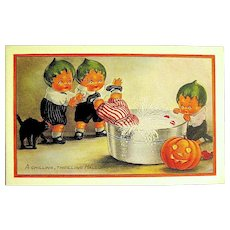 Adorable Unused Whitney Halloween Postcard ~ Pumpkin Head Kids ~ MINT