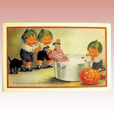 Adorable Unused Whitney Halloween Postcard ~ Pumpkin Head Kids ~ MINT