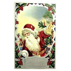 Antique German Santa Claus Postcard ~ Vivid Colors, Glossy Silver