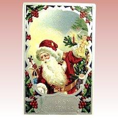 Antique German Santa Claus Postcard ~ Vivid Colors, Glossy Silver