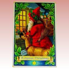 Antique German GEL Christmas Postcard ~ Santa Claus & Deer