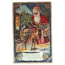 Beautiful Antique German GEL Santa Claus & Deer Postcard