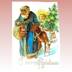 Saxony Christmas Postcard ~ Early Santa (Weinachtsman) Leads Deer with Christ Child