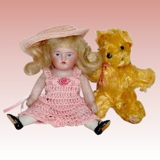 Sweet Kestner 150 AB Doll ~ Perfect Except for Hip Chip ~ Original Mohair Wig