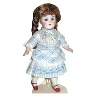 "Pretty German All Bisque 7"" Doll ~ Glass Eyes ~ Gorgeous Dress"