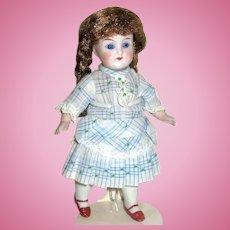 "Pretty German All Bisque 7"" Doll ~ Glass Eyes ~ Gorgeous Dress"