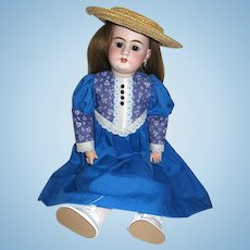 """Beautiful Vintage Royal Blue & White Doll Dress ~ Unworn ~ For 22"""" or Larger Doll"""