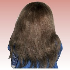 """Hand Sewn Mohair Wig - Thick Brown Vintage Wig - Sz. 14-16"""""""