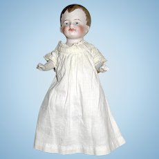 "Adorable 6 1/4"" All Bisque Baby Boy in Antique Sleep Gown"