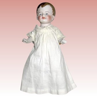 """Adorable 6 1/4"""" All Bisque Baby Boy in Antique Sleep Gown"""