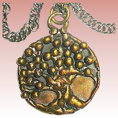 Vintage Carl Art Tree of Life Bronzed Pendant Necklace - Brutalist Style