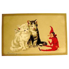 Adorable Christmas Postcard - Toy Elf Plays with Cats