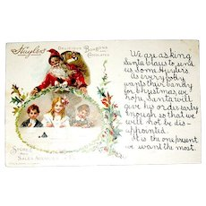 Rare Advertising Christmas Postcard - Children Write Santa to Request Huyler's Candy