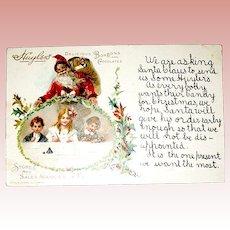 Rare Advertising Christmas Postcard - Children Write Santa to Request Huyler's Candy