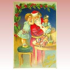 Antique Christmas Postcard - Santa Claus, Girl & Doll