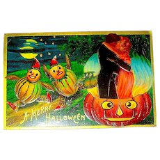 Antique Halloween Postcard - Romance, JOL Cauldron, Scared Veggie Kids