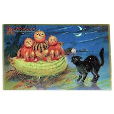 Tuck Halloween Postcard, 150 Series ~ Scared Veggie Kids , Black Cat