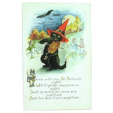 Unused Whitney Halloween Postcard ~ Black Cat Plays a Fiddle, Mice, Bats