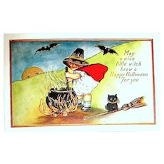 UNUSED Halloween Postcard - Little Girl Witch Stirs Cauldron