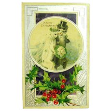 1908 CATS Marriage on Christmas - Kitty Bride and Kitty Groom - Delightful