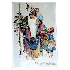 Beautiful GEL Christmas Postcard - Santa Claus, Purple Robe, Children, Heavy Gold