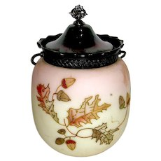 Beautiful Mt. Washington Crown Milano Acorn - Oak Leaf Decorated Cracker Jar