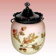 Beautiful Mt. Washington Crown Milano Acorn - Oak Leaf Decorated Cracker Jar