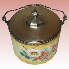 Pairpoint Mt. Washington Floral Painted All Original Biscuit Jar