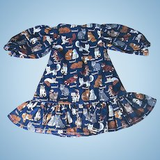 Adorable Small Doll Dresses - Kittens Calico Pattern - FREE Shipping