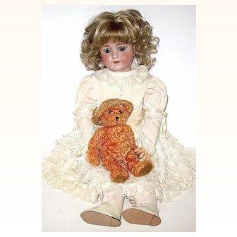 "Beautifully Dressed 24"" Simon Halbig 550 Doll  - Matching Dress, Slip & Bloomers"
