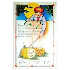 Scarce Whitney Halloween Postcard - Young Lad Makes a Halloween Wish