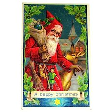 German Antique GEL Christmas Postcard ~ Great Santa, Deer, Toys, Switches
