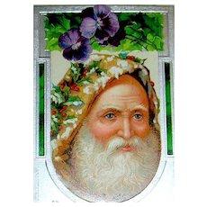 Beautiful Antique Christmas Postcard - Close-Up of Santa's Face