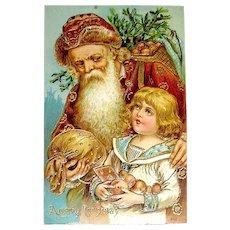 Unused Santa Claus Postcard - Weihnachtsmann,  Boy, Heavy Gold ~ Free Shipping