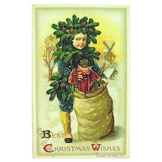"Unused Winsch Schmucker Christmas Postcard - ""Pinecone Boy"" & Large Golly Doll"