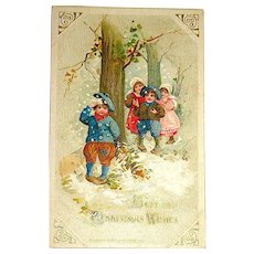 Winsch Schmucker Christmas Postcard - Cute Kids, Snowy Day - Free Shipping