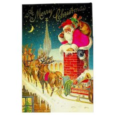 Gorgeous Antique Christmas Postcard ~ Silk Santa, Reindeer, Rooftop