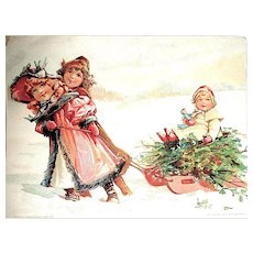 Large 1893 Christmas Advertising Card for Lion Coffee, Girls Pulling Sled