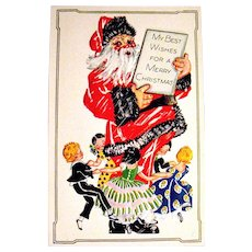 Unused U.S.A. Postcard Features A Cute Santa Claus & Dancing Children