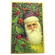 Close-Up Youthful Santa Claus Face German Christmas Postcard