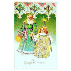 Saint Nicholas / Santa Claus and Divine Child Helper ~ German Christmas Postcard