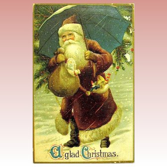 Handsome Santa Claus in Brown Attire Delivers Gifts From Under Umbrella