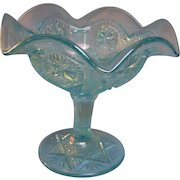 Imperial Glass Ice Blue Iridescent Compote