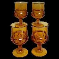 Kings Crown Water Goblet Amber set of 4