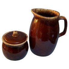Hull Brown Drip Milk Pitcher & Sugar Bowl