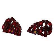 Ruby Rhinestone Aurora Clip Earrings Large