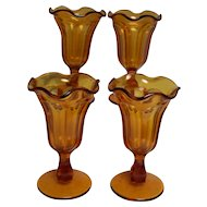 Sundae Glasses Amber Footed Fluted Edge set of 4
